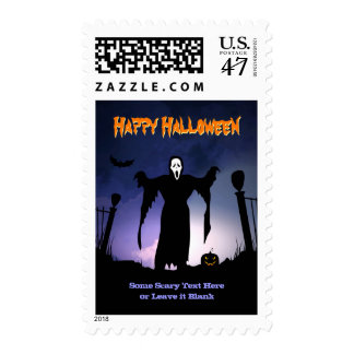 Spooky Ghost Graveyard Pumpkin Halloween Party Postage