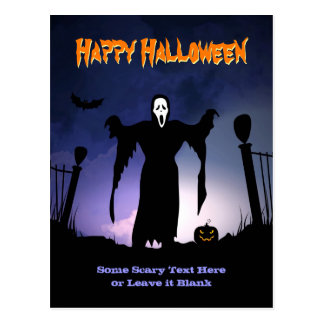 Spooky Ghost Graveyard Pumpkin Halloween Party Postcard