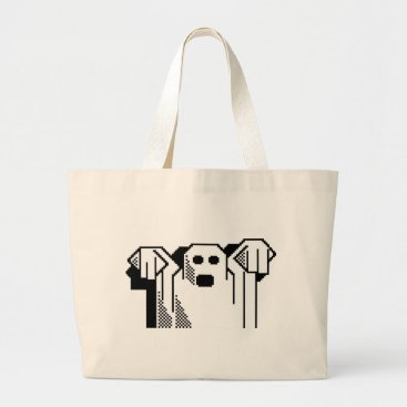 Halloween Themed Spooky Ghost Large Tote Bag