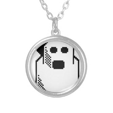 Halloween Themed Spooky Ghost Silver Plated Necklace