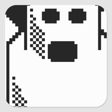 Halloween Themed Spooky Ghost Square Sticker