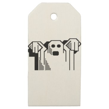 Halloween Themed Spooky Ghost Wooden Gift Tags
