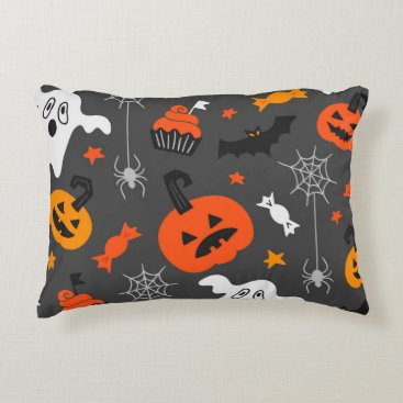 Halloween Themed Spooky Ghosts and pumpkins Accent Pillow