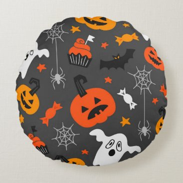 Halloween Themed Spooky Ghosts and pumpkins Round Pillow