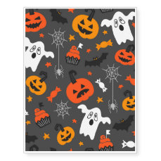 Spooky Ghosts and pumpkins Temporary Tattoos