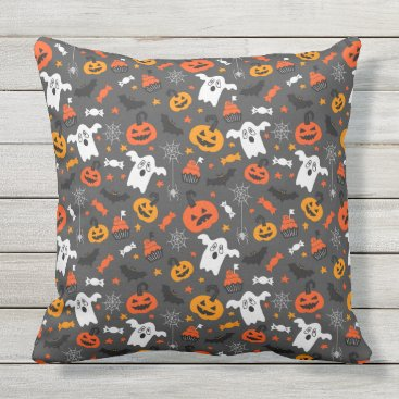 Halloween Themed Spooky Ghosts and pumpkins Throw Pillow