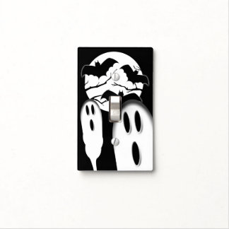 Spooky Ghosts Full Moon Vampire Bats Halloween Light Switch Cover
