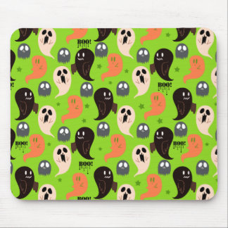 Spooky Ghosts Green Pattern Mouse Pad