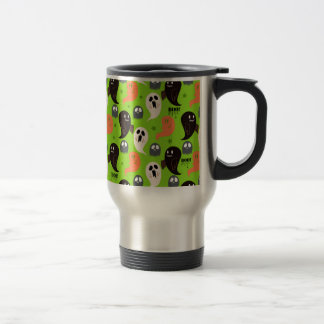 Spooky Ghosts Green Pattern 15 Oz Stainless Steel Travel Mug