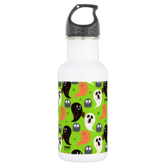 Spooky Ghosts Green Pattern 18oz Water Bottle