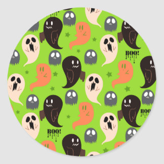 Spooky Ghosts Green Pattern Classic Round Sticker