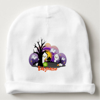 Spooky Ghosts Haunted House Personalized Baby Beanie