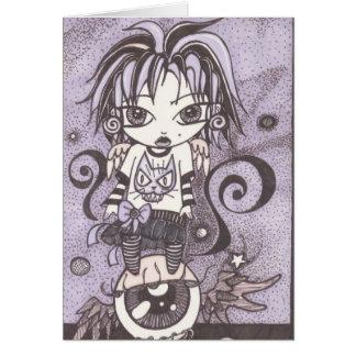 spooky  girl birthday stationery note card