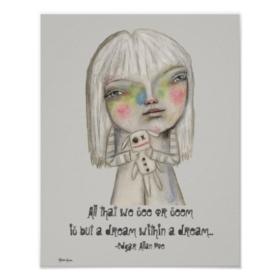 Spooky Girl Illustration Cute Whimsical Quote Poster