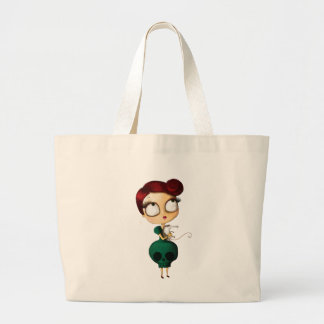Spooky girl with Opossum Large Tote Bag