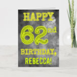 "[ Thumbnail: Spooky Glowing Aura Look ""Happy 62nd Birthday"" Card ]"