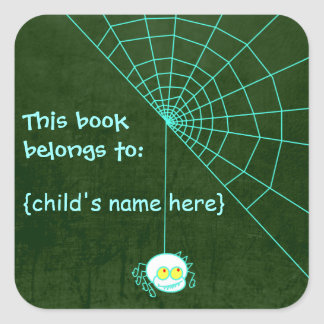 Spooky Glowing Ghostly Spider - Book Belongs To Square Sticker