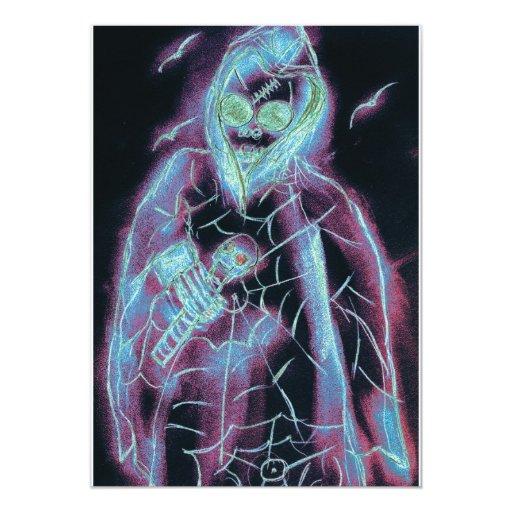 "Spooky Glowing Skeleton Halloween Invite 5"" X 7"" Invitation Card"