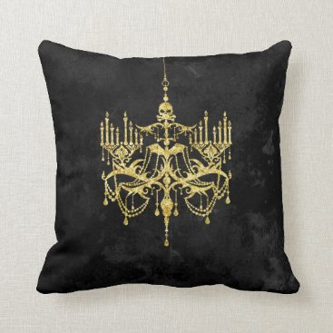 Halloween Themed Spooky Gold Chandelier on Black | Faux Glitter Throw Pillow