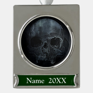 Spooky Gothic halloween skeleton bone Xray Skull Silver Plated Banner Ornament