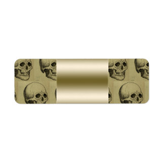 Spooky Gothic Skulls Pattern Gold Halloween Return Address Label