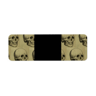 Spooky Gothic Skulls Pattern Halloween Label