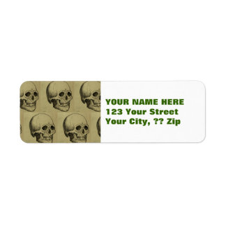 Spooky Gothic Skulls Pattern Halloween Label