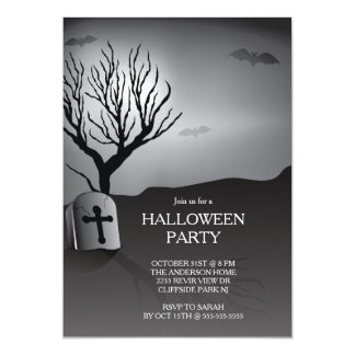 "Spooky grave yard Halloween Party Invitation 5"" X 7"" Invitation Card"