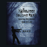 """Spooky Graveyard Halloween Party Invitation Flyer<br><div class=""""desc"""">Creepy graveyard in the woods background image with Halloween typography and zombie silhouette.</div>"""