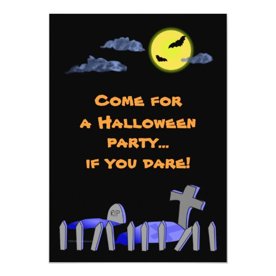 Spooky Graveyard Halloween Party Invitations