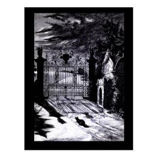 Spooky Graveyard Scene Halloween Card Postcard
