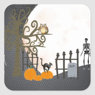 Spooky Graveyard Square Sticker