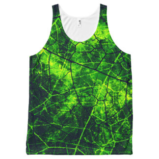 Spooky Green Crackle Lacquer Grunge Texture All-Over Print Tank Top