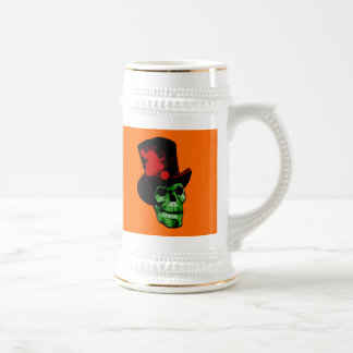 Spooky Green Skull with Top Hat Beer Stein