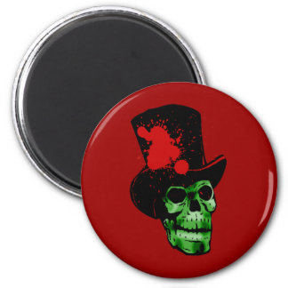 Spooky Green Skull with Top Hat Magnet