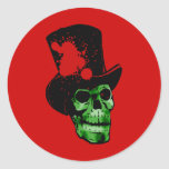 Spooky Green Skull with Top Hat Round Stickers