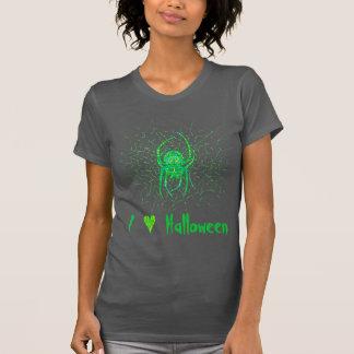 Spooky Green Spider Art I Love Halloween Apparel T Shirt