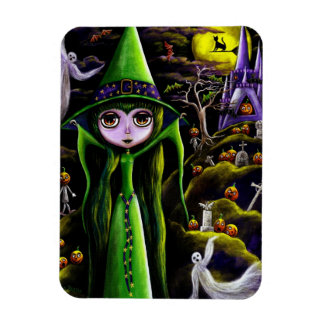 Spooky Green Witch Doll Big Eyes Pumpkin People Rectangular Photo Magnet