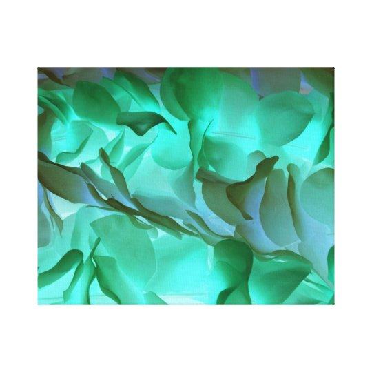 Spooky grey and green petals canvas print