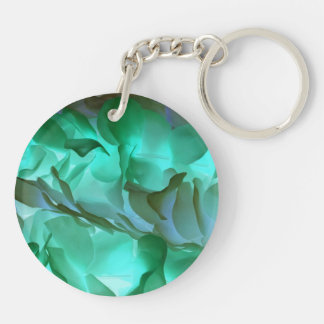 Spooky grey and green petals Double-Sided round acrylic keychain
