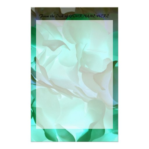 Spooky grey and green petals stationery