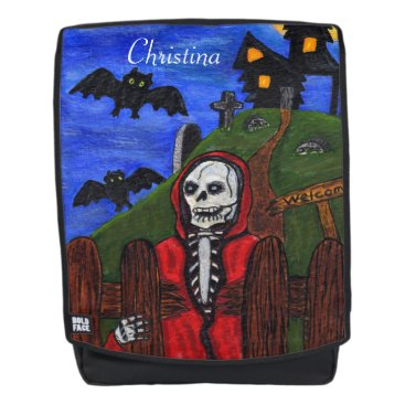 Beach Themed Spooky Grim Reaper Skeleton Red Cape Bats Backpack