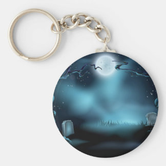 Spooky Halloween Background Scene Keychain