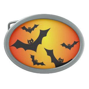 spooky halloween bats belt buckle
