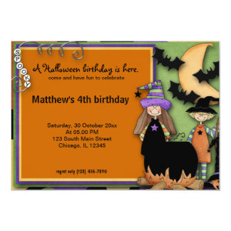 Spooky Halloween Birthday 5x7 Paper Invitation Card