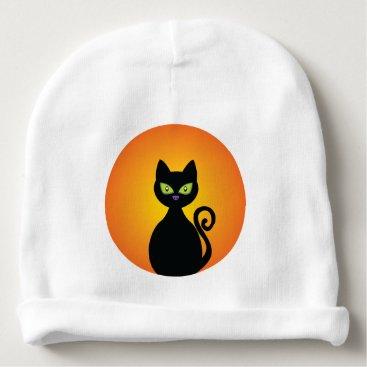 Halloween Themed Spooky Halloween Black Cat Baby Beanie