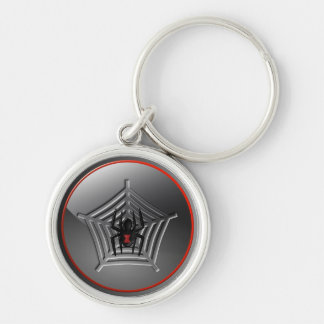 Spooky Halloween Black Widow Spider on a Web Keychain
