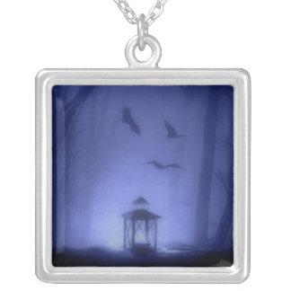 Spooky Halloween Blue Moonlight Night Bats Lantern Square Pendant Necklace