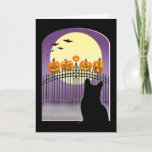 """Spooky Halloween Card<br><div class=""""desc"""">Halloween greeting card featuring a black cat sitting in a window,  looking at a midnight scene of funny pumpkins sitting on a fence.</div>"""