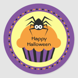 Spooky Halloween Cupcake Spider Stickers